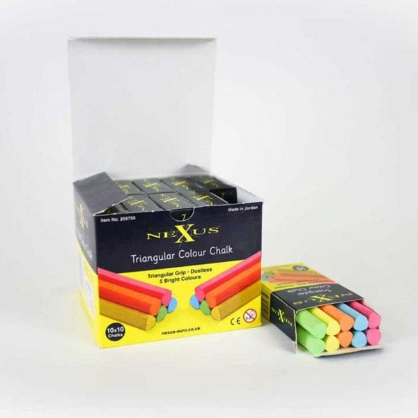 Nexus Triangular Chalks – Coloured (100 Pack)