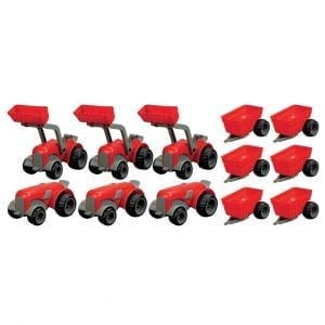 Set of 3 Diggers, 3 Tractors & 6 Trailers