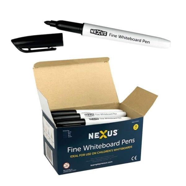 Nexus Fine Whiteboard Pens – Black (Box of 36)
