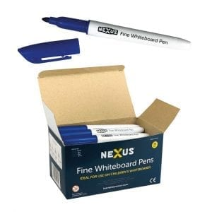 Nexus Fine Whiteboard Pens – Blue (Box of 36)