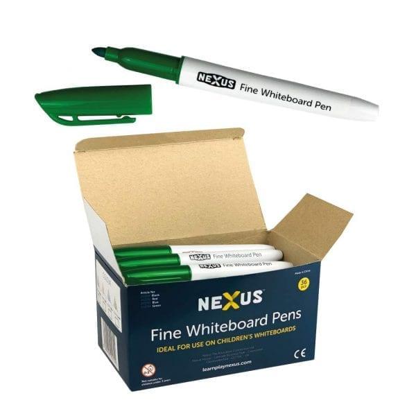Nexus Fine Whiteboard Pens – Green (Box of 36)