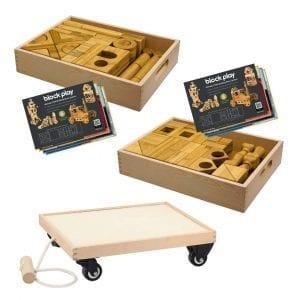 Block Play Sets 1 & 2 + Wooden Cart