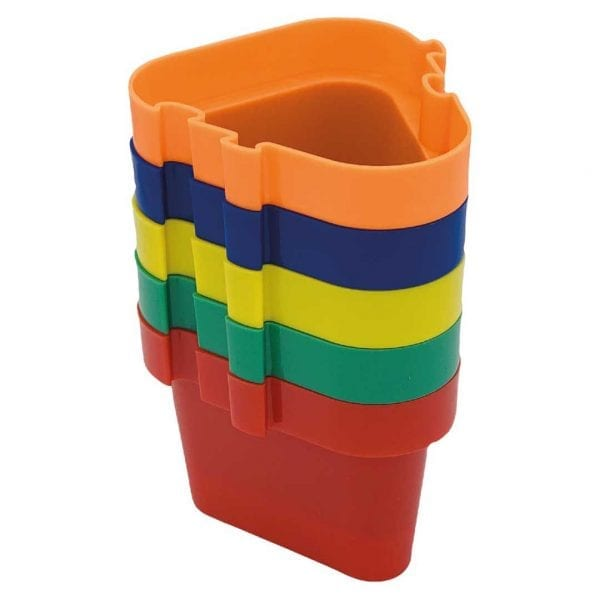 'Pegs to' Range 5 x Pots (Orange, Blue, Yellow, Dark Green, Red)