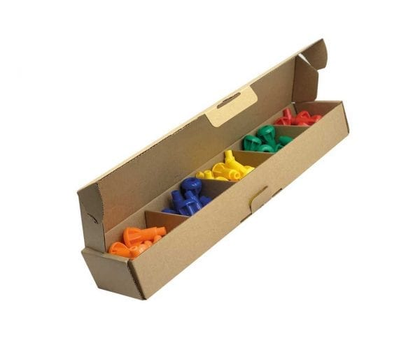 P2P 50 x Pegs in Box (Orange, Blue, Yellow, Dark Green, Red)