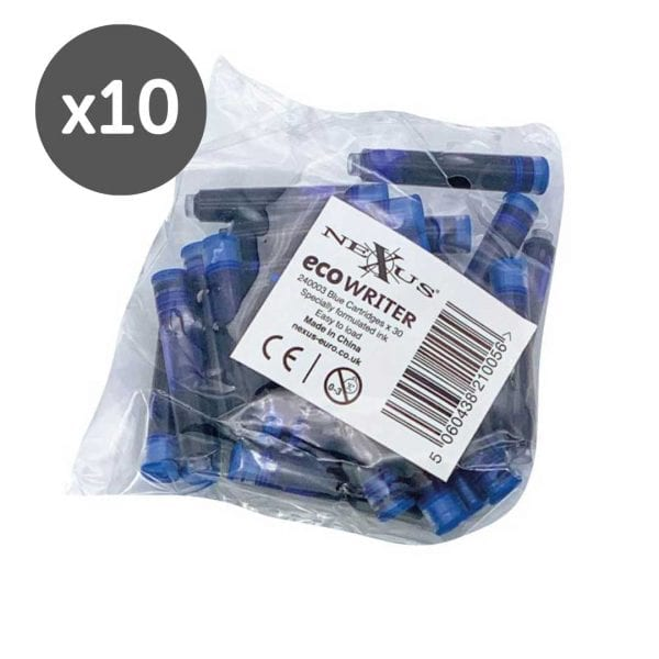 Nexus ECO Writer Rollerball Pen Blue Cartridge Refills  (300 Pack)