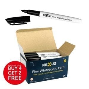 Nexus Fine Whiteboard Pens – Black (Box of 36)