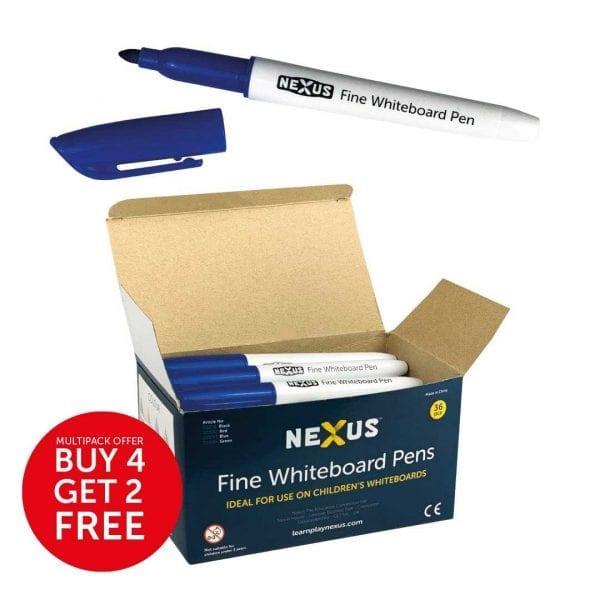 Nexus Fine Whiteboard Pens – Blue (Box of 36)