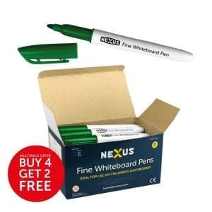 Nexus Fine Whiteboard Pens – Green (Box of 36)