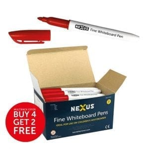 Nexus Fine Whiteboard Pens – Red (Box of 36)