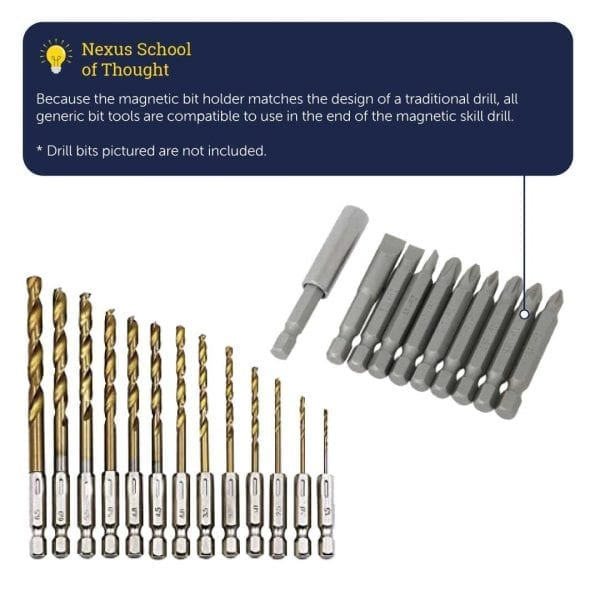 Magnetic Skill Drill (x 3 set with x 100 FREE screws)