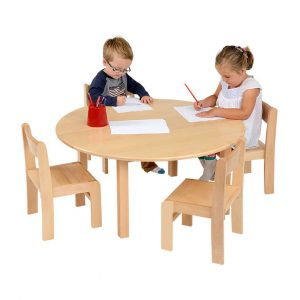 Circular Table Solid Beech & 1 Pack Of Stacking Chairs