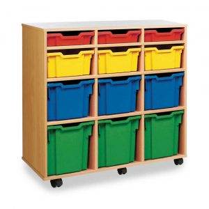 12 variety tray unit (vertical) – 3 shallow, 3 deep, 3 3/4, 3 jumbo tray unit W1030 x D453 x H967mm (3 columns of 4)