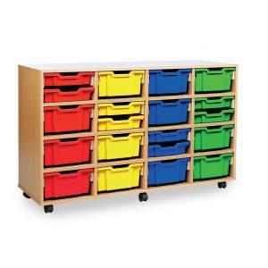 16 deep storage tray unit W1358 x D453 x H835mm (4 Columns)