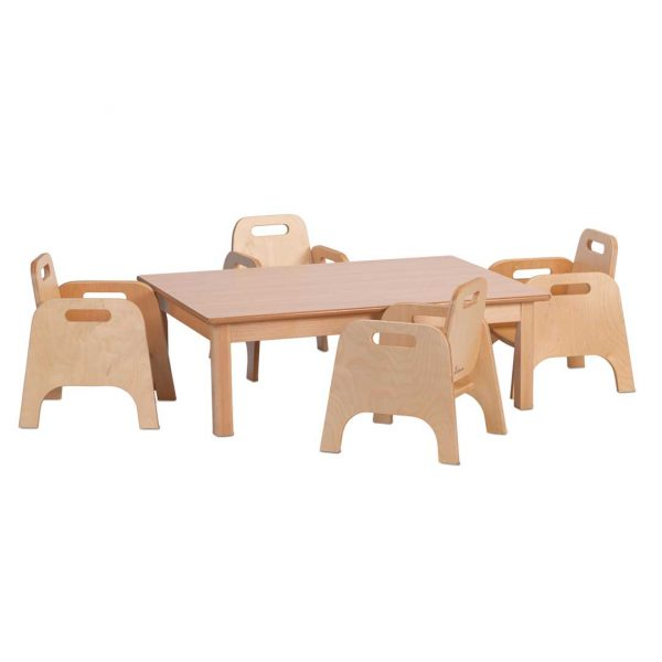 Small Rectangular Table & 4 Sturdy Chairs