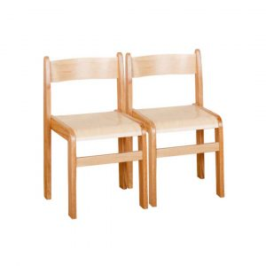 Natural Wooden Chairs Pack of 2