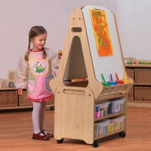 Double Sided Whiteboard Easel and Storage Trolley