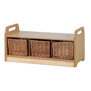 Low Level Storage Bench – Wicker Baskets